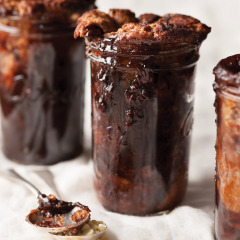 Milk chocolate self-saucing pudding with white chocolate drops