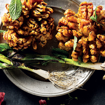 Blooming Spiced Onion with Spring Onion-and-Chive Yoghurt Dip