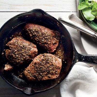 Zaatar-Spiced Ostrich Steaks with Tahini Sauce