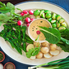 Winter vegetable platter with a hot creamy mustard dipping sauce