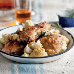 Roast chicken pieces with rosemary and roast cauliflower