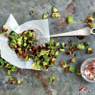 Salty brussels sprout chips