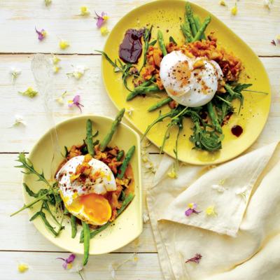 Poached egg-and-atchar salad