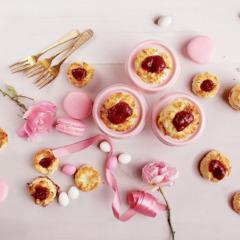 Raspberry-stuffed coconut macaroons