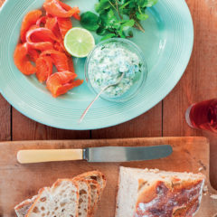 Trout gravlax with minted cucumber-and-yoghurt sauce