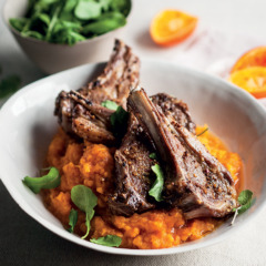 Barbeque-spiced grilled lamb chops with sweet-potato mash