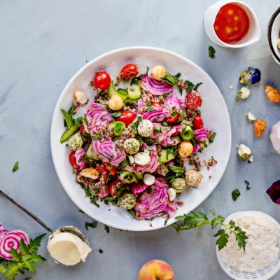 Summer tomato, beetroot and lemony ricotta quinoa salad