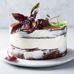 Easy naked chocolate and basil cake with cream cheese icing