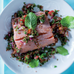 Rose-poached salmon on tabouleh salad