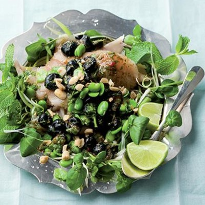 Angelfish carpaccio with Asian blueberry dressing