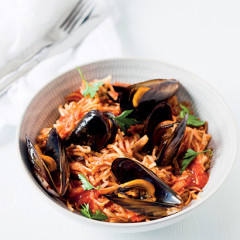 Angelhair pasta with mussels