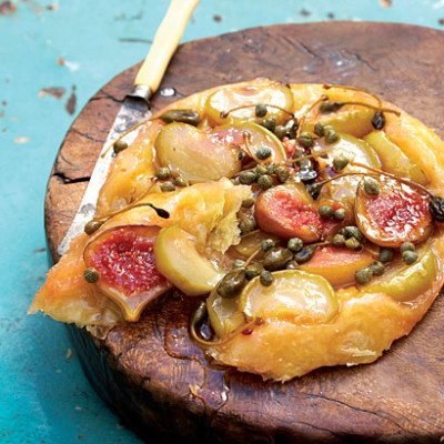 Apple and fig tarte tatin with capers and caperberries