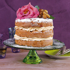 Apple and olive oil layer cake with maple icing