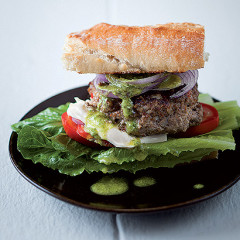 Asian burgers with coriander pesto