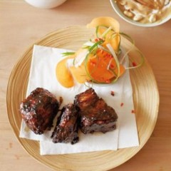 Asian marinated short ribs with a lip-smacking peanut dip