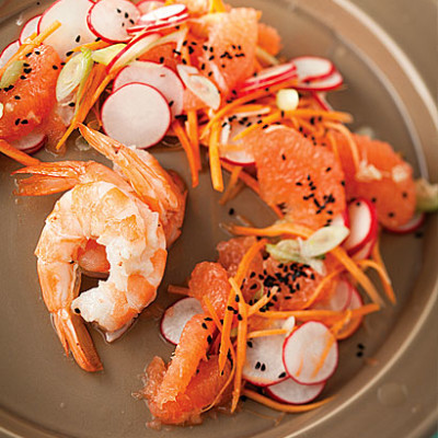 Asian slaw with steamed prawns