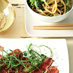 Asian-style seared beef with sesame-onion noodles