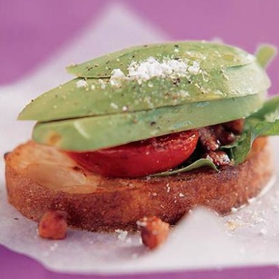 Avocado and pancetta stack