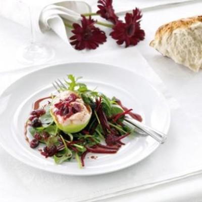 Avocado and prawn with festive summer-leaf salad