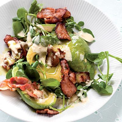 Avocado, bacon and watercress salad with horseradish dressing