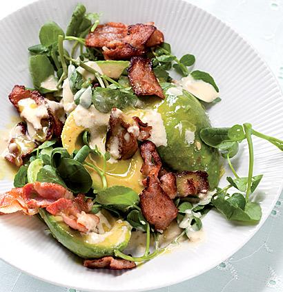 Avocado, bacon and watercress salad with horseradish ...