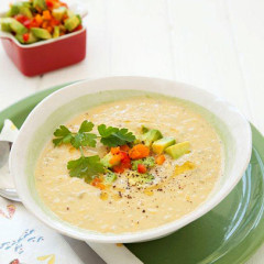 Avocado corn soup with red & yellow pepper