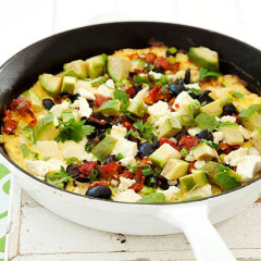 Avocado frittata with sundried tomatoes, feta & olives