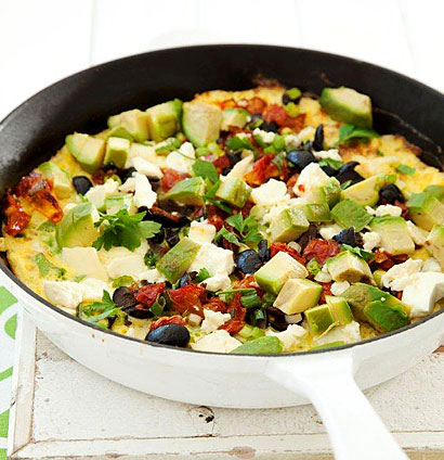 Avocado frittata with sundried tomatoes, feta & olives ...