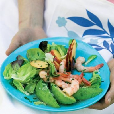Avocado, nectarine, prawn and butter lettuce salad