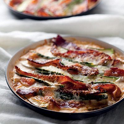 Baby marrow and bacon gratin