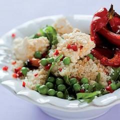 Baby pea and lemon couscous salad