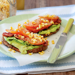 Bacon and guacamole open sandwich