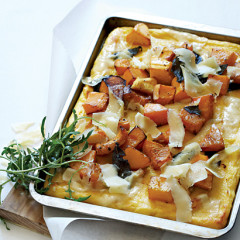 Baked butternut and sage on polenta crust