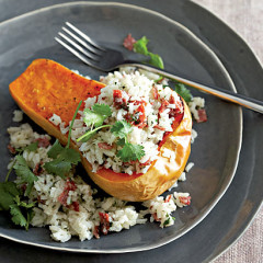 Baked butternut with chorizo-rice filling