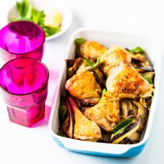 Baked chicken with brinjal and lemon