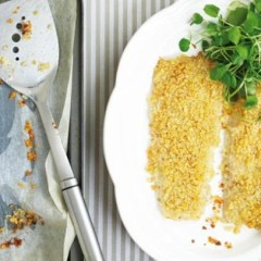 Baked crispy hake with sweet potato and watercress