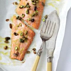Baked fish with lemon-pistachio butter
