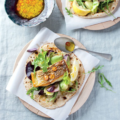 Baked fish with sweet chilli sauce