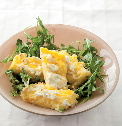 Baked goat 39 s cheese polenta with rocket woolworths taste - Baked polenta cheese recipes ...