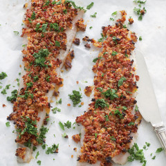 Baked hake with sundried tomato and parmesan crust