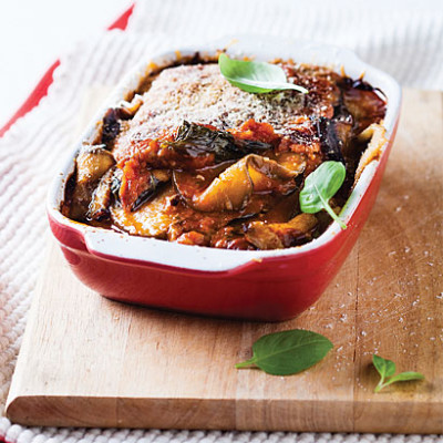Baked layered brinjal with ham