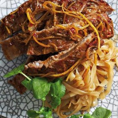 Baked marinated spareribs with noodles