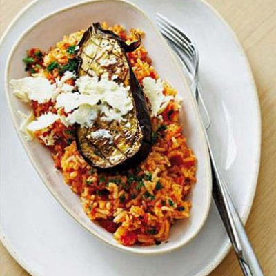 Baked organic brinjal with tomato rice
