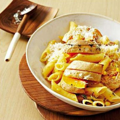 Baked organic butternut and chicken with corn pasta