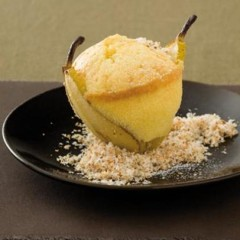 Baked pear and coconut pudding