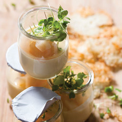 Baked pecorino creme with pickled pears and Parmesan crisps