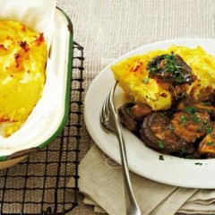 Baked polenta with braised mixed mushroom