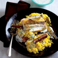 Baked spiced fish with biryani rice