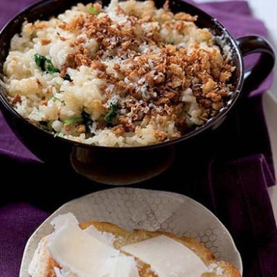 Baked spinach risotto
