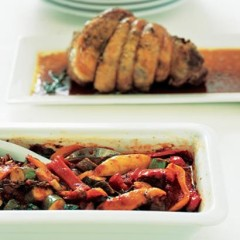 Baked summer vegetables with mediterranean lamb